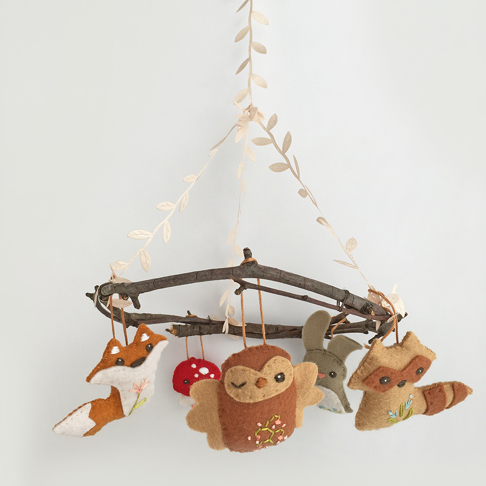 Little Dear Tracks Sweet And Simple Woodland Baby Mobile
