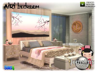 Airi bedroom Airi спальня для The Sims 4 Вдохновение Азии здесь Airi спальня. кровати. одеяло кровать. подушки кровати деко. тумба. ванна конец таблицы багажник деко. маленькая японская кукла деко. настенная скульптура. настенные росписи. Японское вдохновение для вас. Автор: jomsims