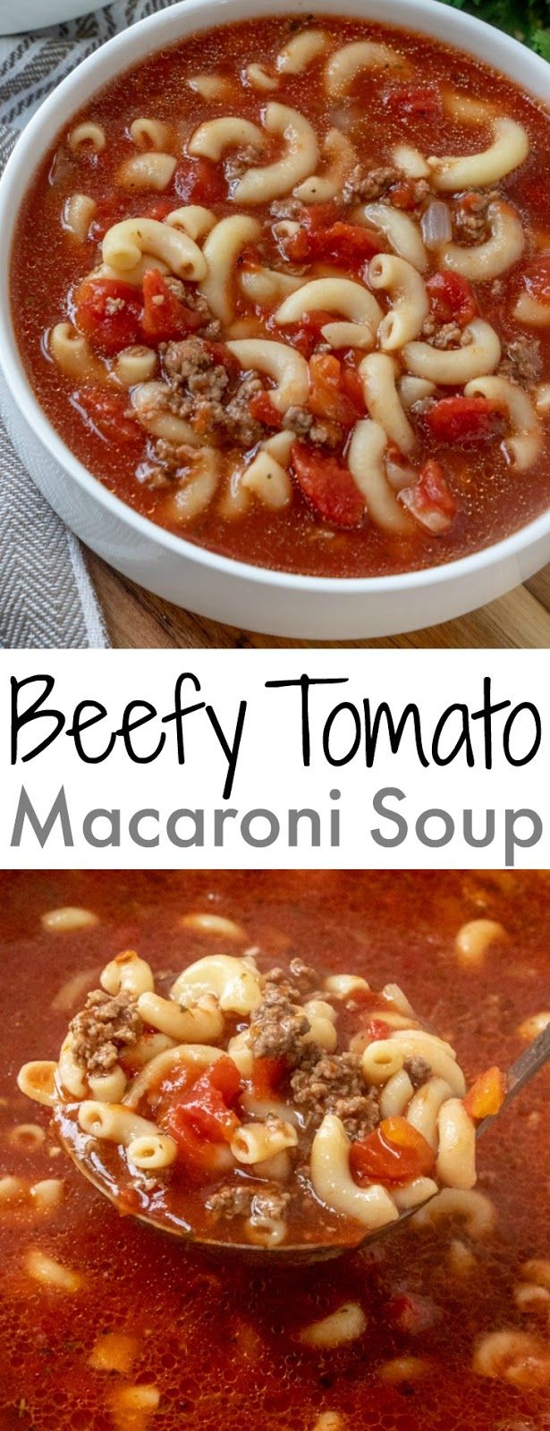 This ground beef and tomato soup is pure comfort food just like Grandma used to make! It's easy, ready in 30 minutes and SO delicious! It's family friendly and affordable. Serve with a salad, sandwich or a chunk of crusty bread!