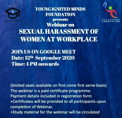 [Online] Webinar on Sexual Harassment of Women at Workplace by Young Ignited Minds Foundation [Register Soon]