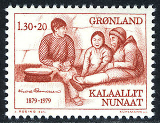 Greenland Knud Rasmussen, arctic explorer and Eskimos, 1979