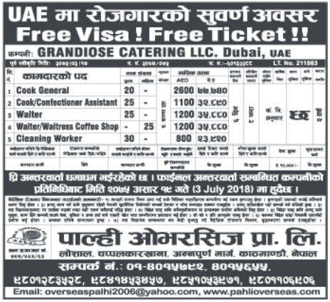 Free Visa Free Ticket Jobs in Dubai for Nepali, Salary Rs 77,740