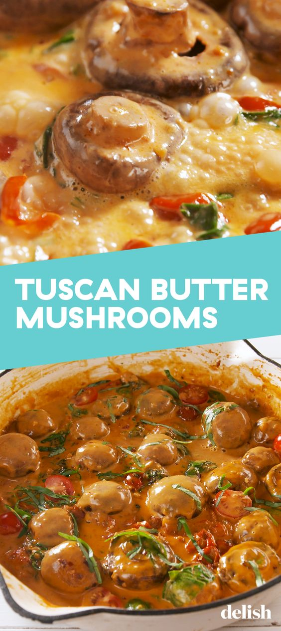 These mushrooms are no exception as they are rich and creamy with pops of brightness from the cherry tomatoes.