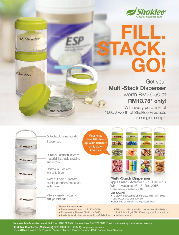 Promosi Purchase With Purchase Multi-Stack Dispenser Shaklee