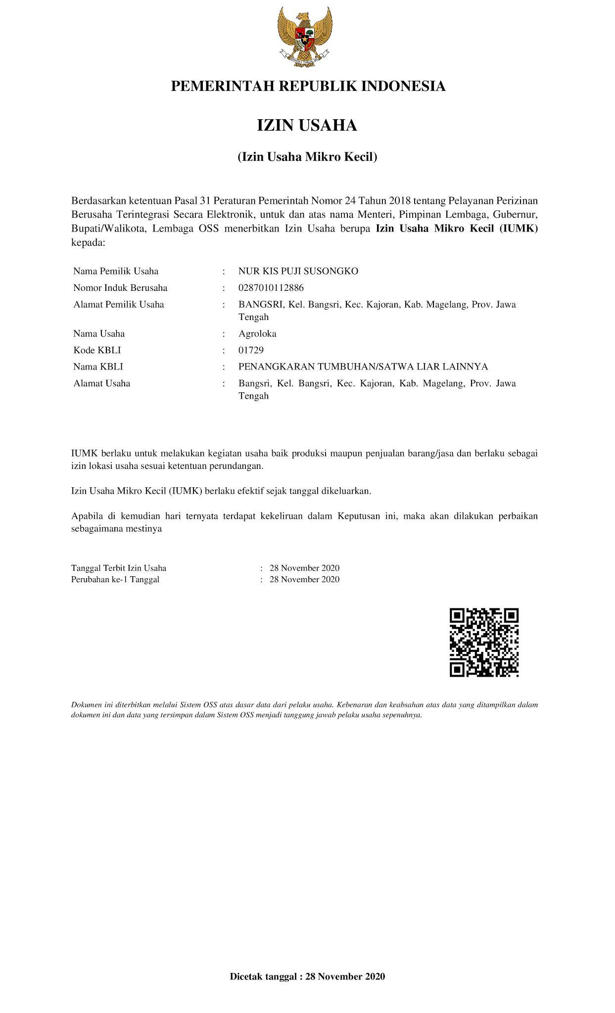 surat izin usaha agroloka