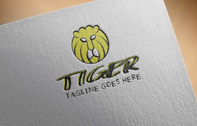 Download Free Yellow Cute Strong Tiger Head Cartoon Logo