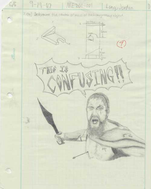 cartoon spartan, spartan, budak bagi jawapan kreatif dalam exam ,exam funny answer,