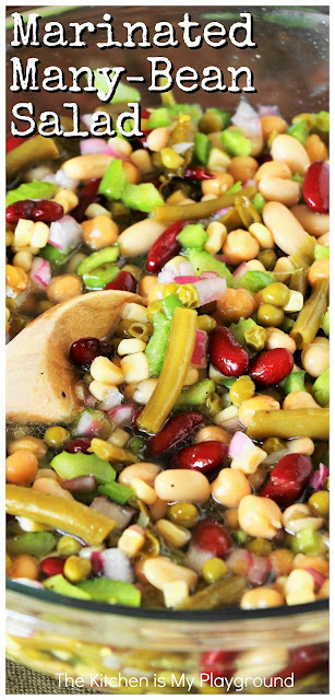 Easy Marinated Many Bean Salad ~ A great classic make-ahead salad for the family or for serving a crowd! Perfect for cookouts, potlucks, or as an everyday side.  www.thekitchenismyplayground.com