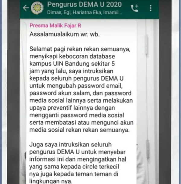 Data Mahasiswa UIN Bandung Bocor, Email dan m-Banking Jadi Sasaran