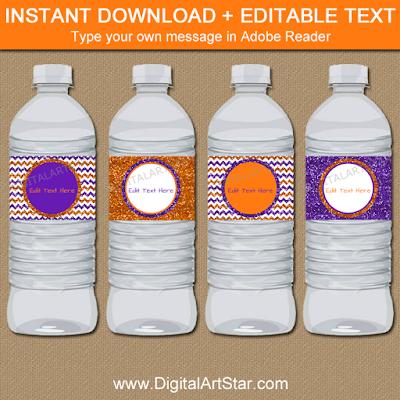 glitter halloween water bottle labels for girl halloween birthday