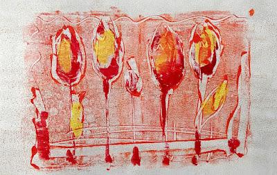 Monotypie Bild von Olga David Tulpen farbig