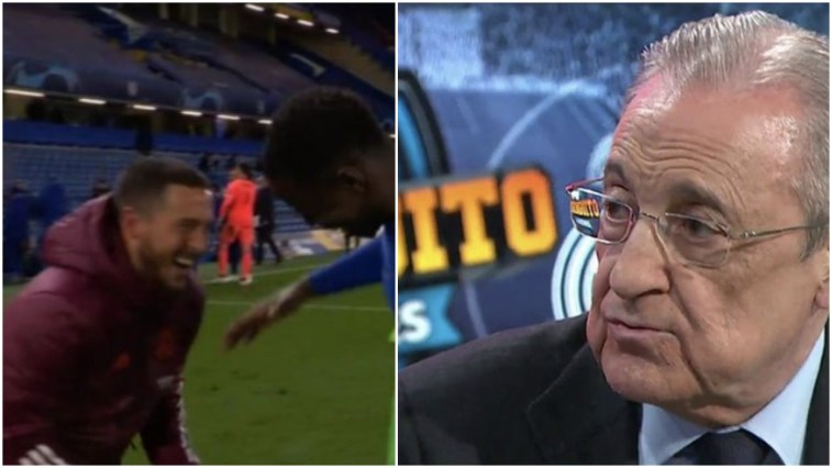 Florentino Perez Warns Hazard For Laughing With Old Chelsea Friends