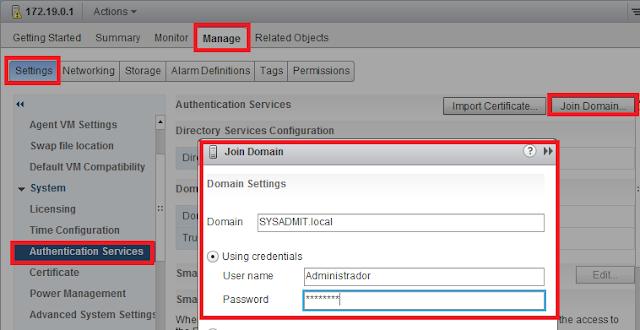 Vista VSphere Web client, añadir ESXi al dominio
