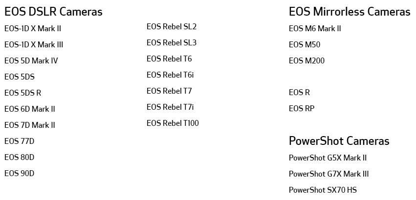 Список моделей фотоаппаратов