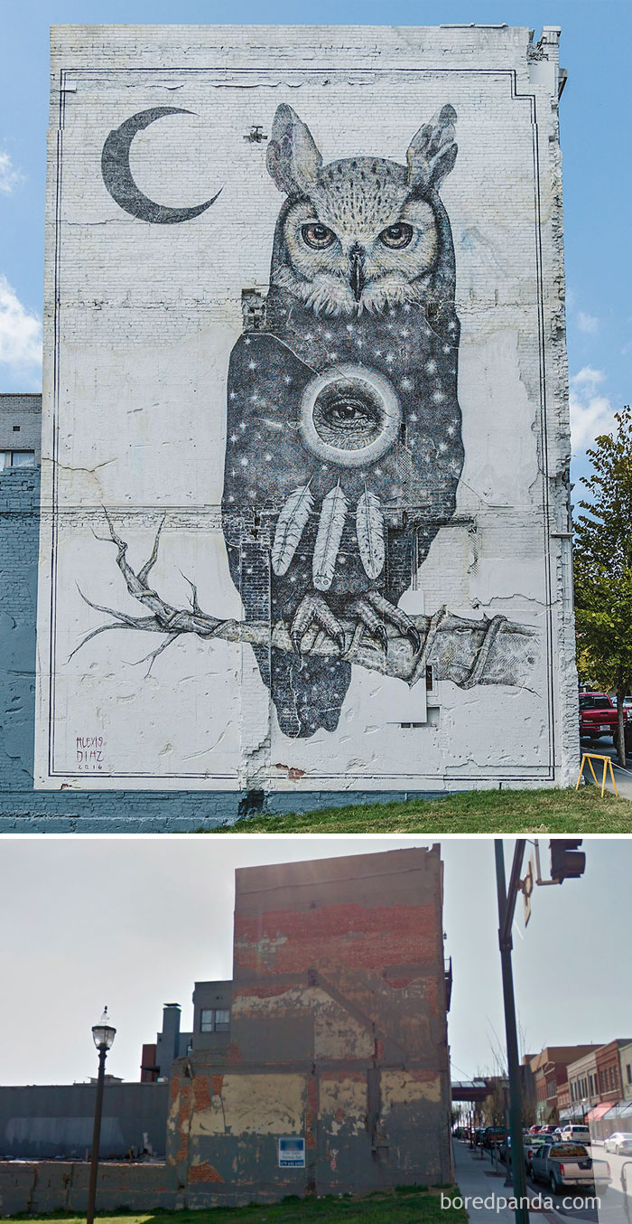 10+ Incredible Before & After Street Art Transformations That'll Make You Say Wow - Owl Mural In Fayetteville, Arkansas, USA