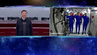 Xi congratulates Chinese astronauts in space station