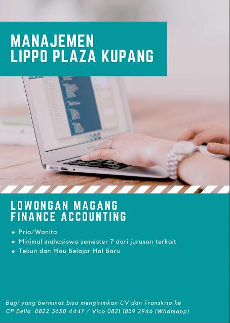 Loker Kupang Magang Finance Accounting di Lippo Plaza Kupang