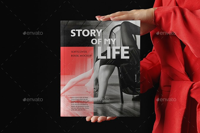 Woman In Red With Softcover Book Mockup[Photoshop][28915120]