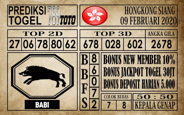 Prediksi Togel 789toto Hongkong Minggu 09 Februari 2020