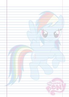 Folha Papel Pautado Little Poney da Rainbow Dash em PDF para imprimir na folha A4
