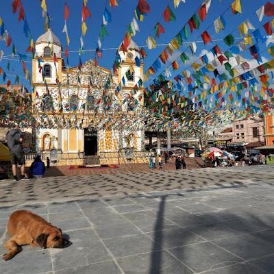 Diante da Igreja Matriz de Pirapora, o cão toma sol sob as bandeiras coloridas das festas juninas.