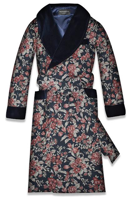mens floral dressing gown silk robe velvet smoking jacket housecoat