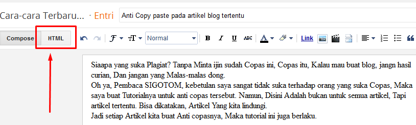 Anti Copy paste pada artikel blog tertentu