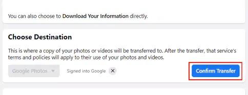 تأكيد نقل صور الفيسبوك
