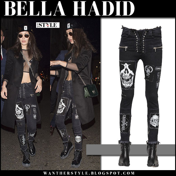 Bella Hadid in black skull patch unravel skinny jeans london fashion week street style what she wore