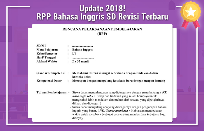 RPP Bahasa Inggris SD Revisi Terbaru