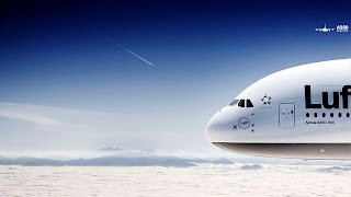 Lufthansa Airline Airbus A380 Plane and Beautiful Sky Clouds HD Wallpaper
