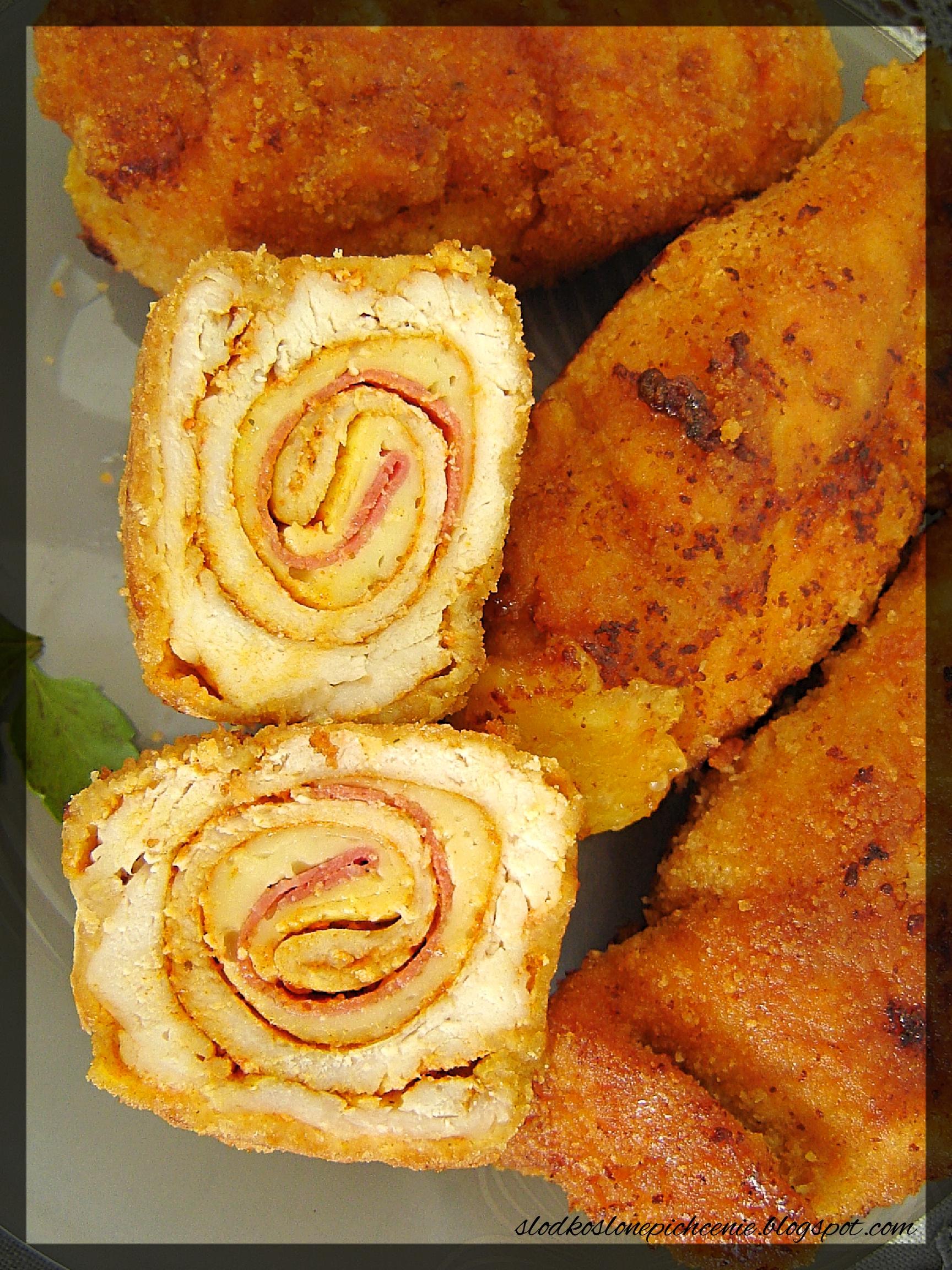 Roladki drobiowe z salami i serem żółtym