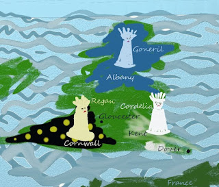 Painted sketch of Britain with Goneril's Albany faction in the North, Regan's Cornwall faction in the Southwest, and Cordelia about to be driven away from Kent in the Southeast.