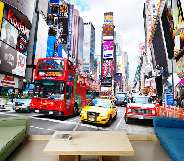 New York Wall Mural Window Times Square Street View Taxi Livingroom Murals