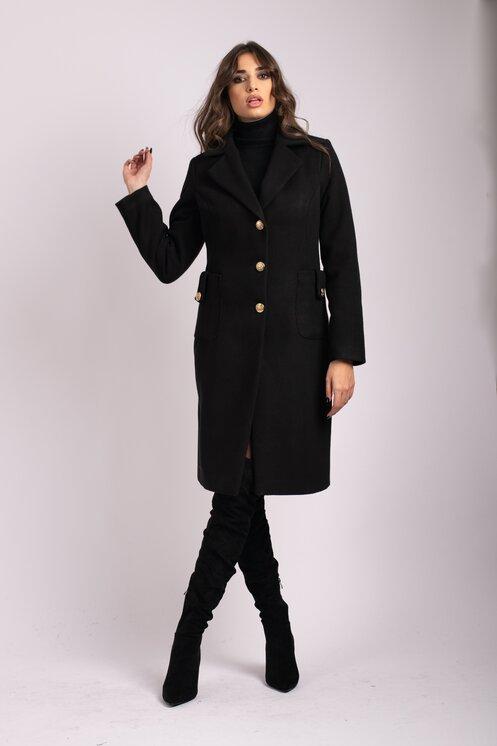 Palton de iarna modern de dama negru cu buzunare maxi