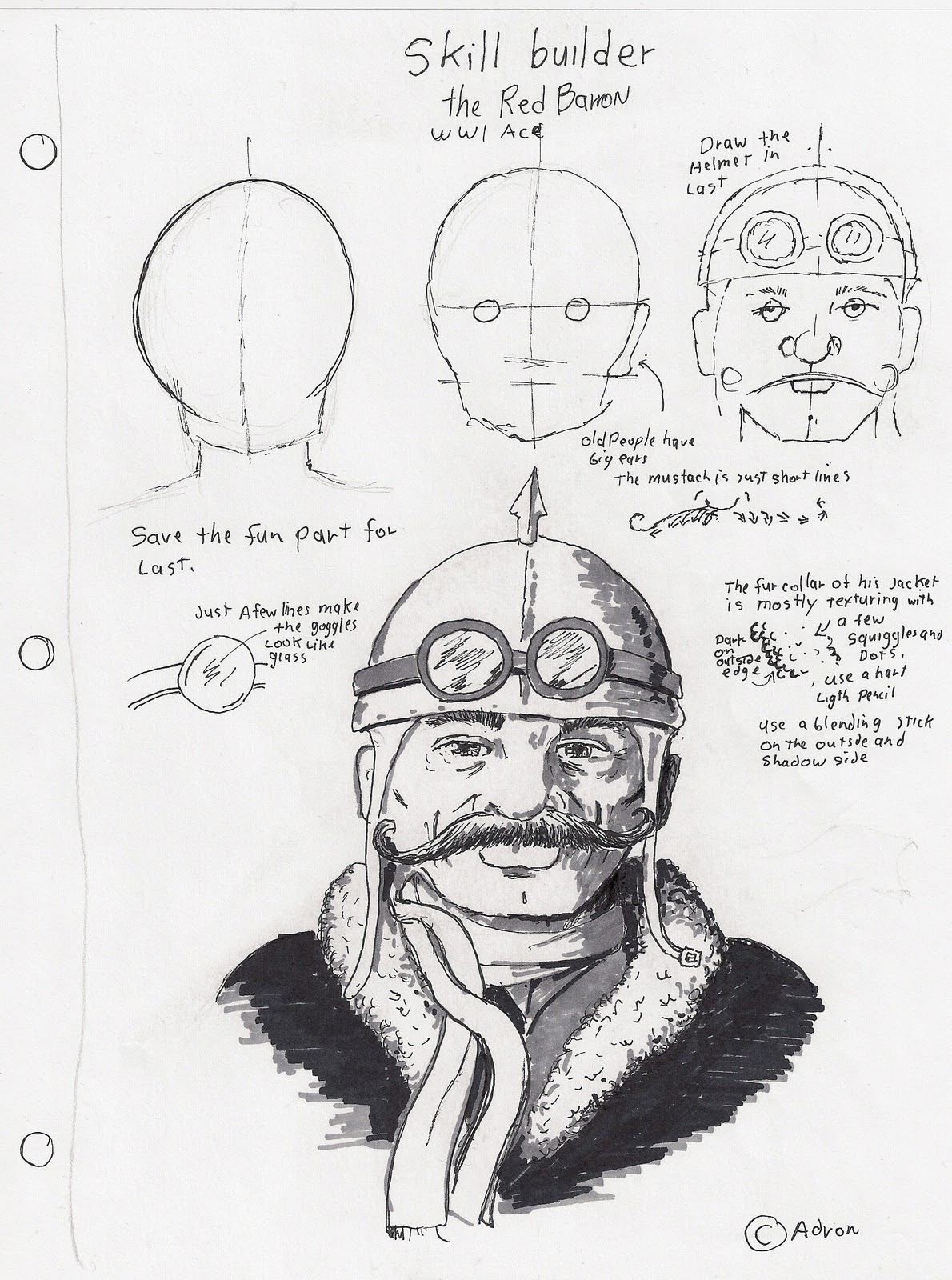 Adron S Art Lesson Plans How To Draw The Red Baron A