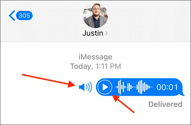 اضغط على زر التشغيل أو الصوت لسماع الرسالة الصوتية