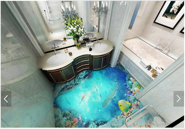 3D flooring ideas for small bathroom, self leveling 3d floor