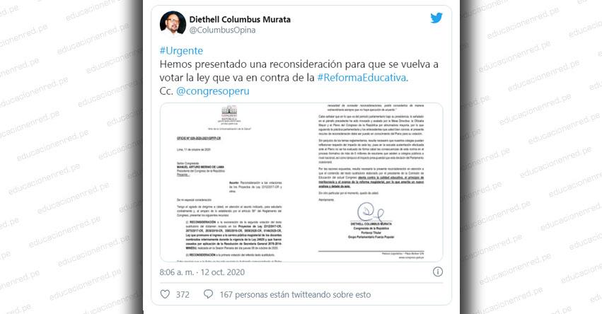 Congresista de Fuerza Popular presentó reconsideración sobre ley que reincorpora docentes interinos