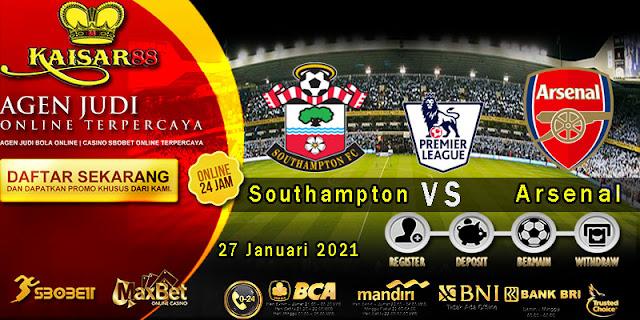 Prediksi Bola Terpercaya Liga Inggris Southampton vs Arsenal 27 Januari 2021