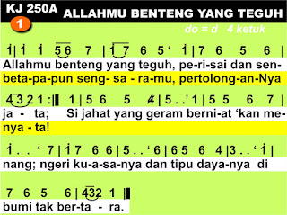 Lirik dan Not Kidung Jemaat 250a Allahmu Benteng Yang Teguh