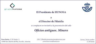 Invitación a la presentación del sello de El Minero