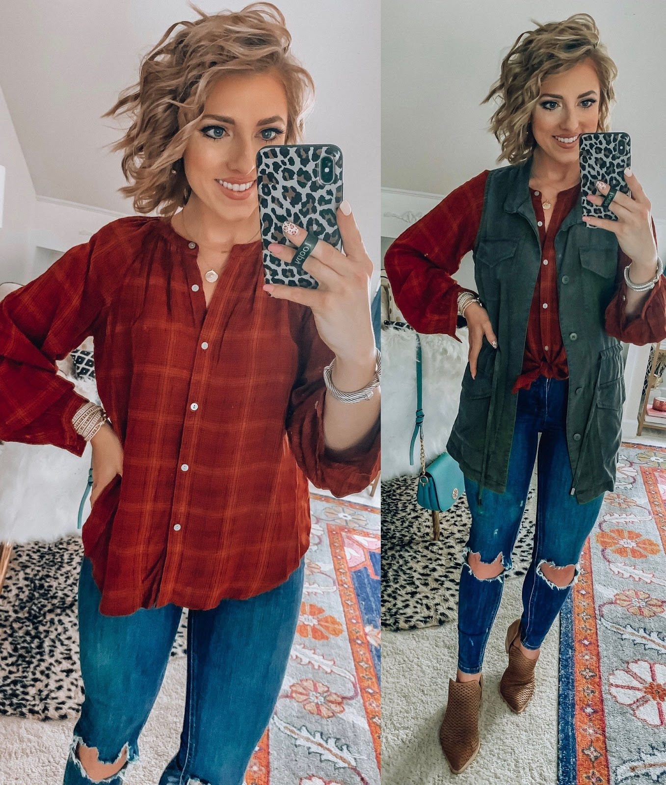 Target Fall Finds: Part 2 - Under $30 Plaid Top with Military Vest - Something Delightful Blog #fallfashion #leopard #pajamas #targetstyle #targetfallfinds