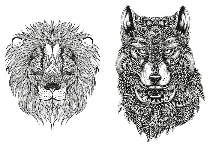 Mandalas Für Erwachsene Lion Wolf