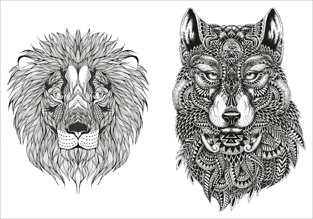 mandalas f r erwachsene lion wolf. Black Bedroom Furniture Sets. Home Design Ideas