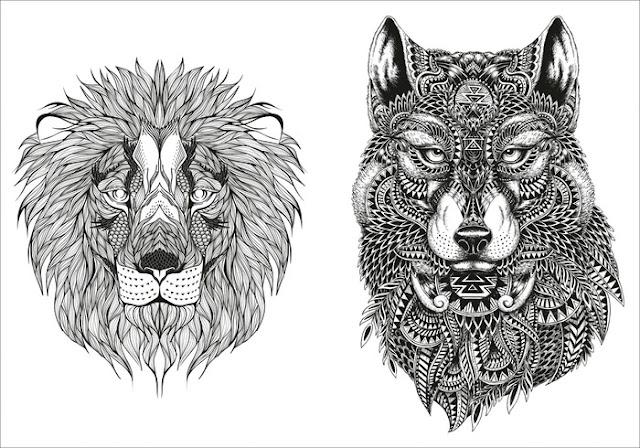 mandalas fr erwachsene lion wolf