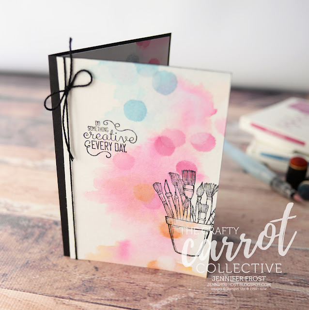 Crafting Forever, Stampin' Up!, Customer rewards program, The Crafty Carrot Collective, Watercolor background, Jar of Paint brushes,Papercraft by Jennifer Frost