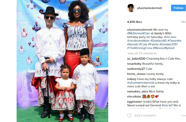 Ufuoma Mcdermott, Husband,and Kids Rock Traditional Oufits In New Photo