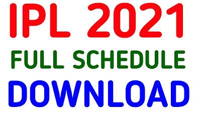 Ipl 2021 Schedule