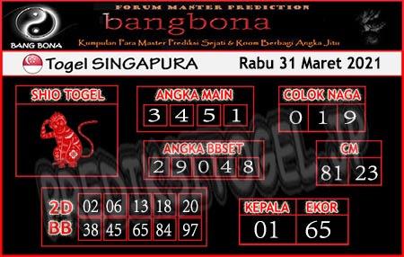 Prediksi Bangbona SGP Rabu 31 Maret 2021